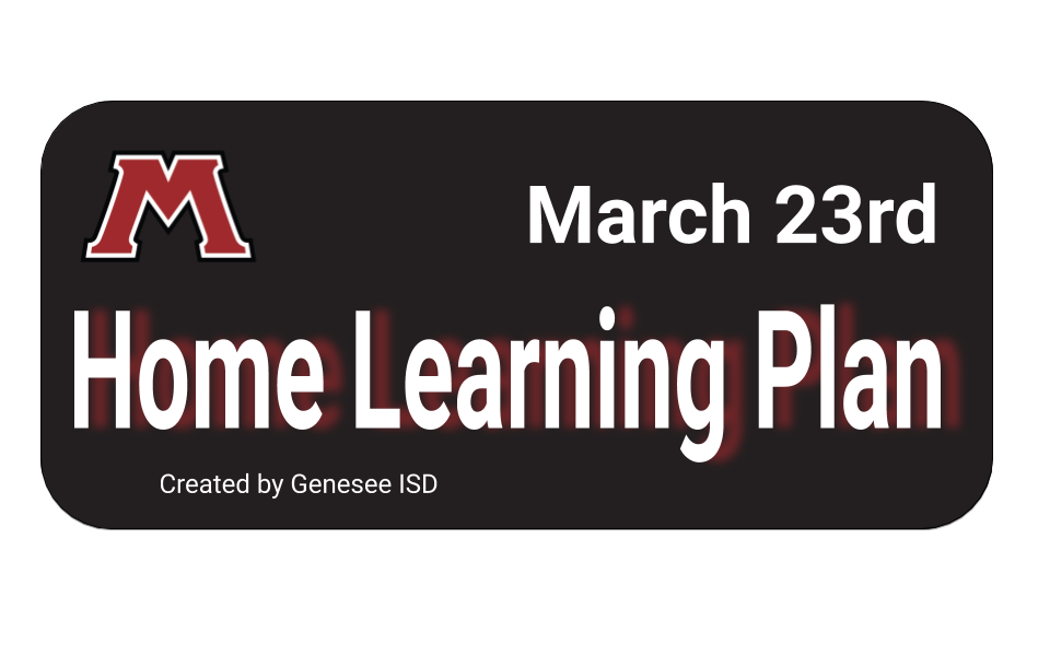 March 23rd Home learning plan